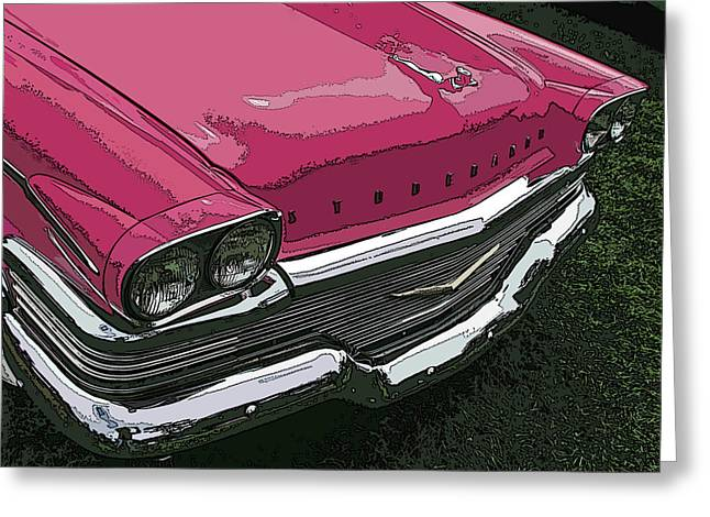 Sam Sheats Greeting Cards - Pink Studebaker Nose Study Greeting Card by Samuel Sheats