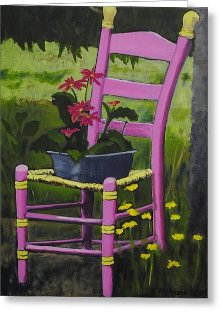 Ladder Back Chairs Greeting Cards - Pink Summer Chair Greeting Card by Fran Atchison