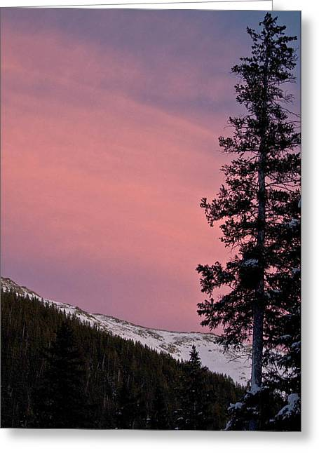 Ski Village Greeting Cards - Pink Sunset Greeting Card by Lisa  Spencer