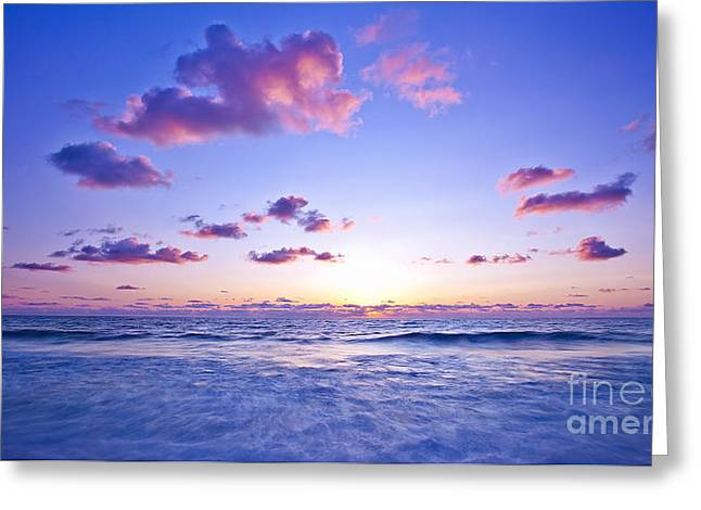 Ocean Panorama Greeting Cards - Pink sunset on the beach Greeting Card by Anna Omelchenko