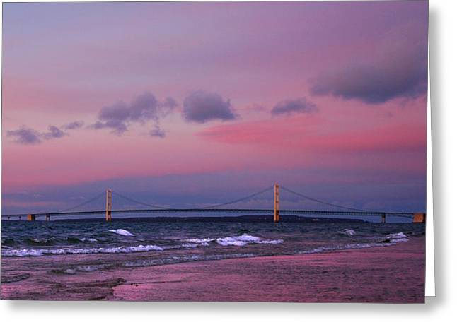 Architecture Greeting Cards - Pink Sunset over Mackinac Michigan Greeting Card by LeeAnn McLaneGoetz McLaneGoetzStudioLLCcom