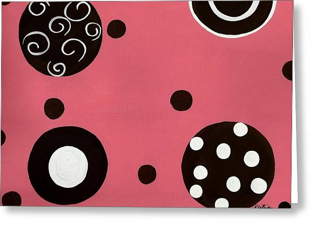 Party Invite Paintings Greeting Cards - Pink Swirly Curly Greeting Card by Katie Slaby