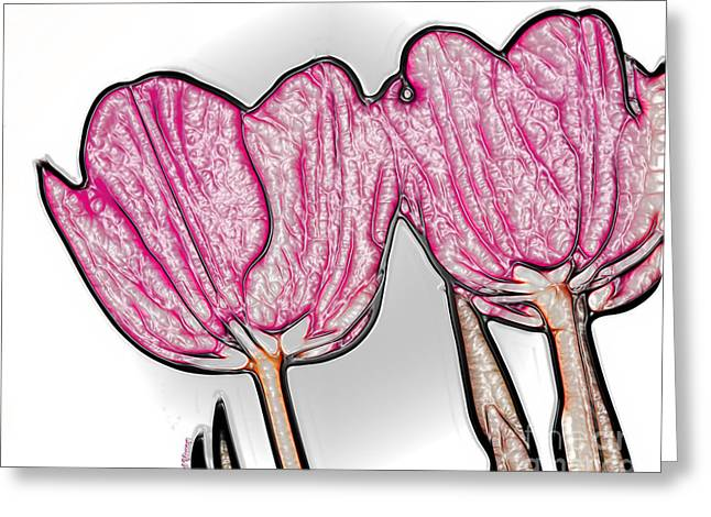 Reception Greeting Cards - Pink Tulip In Plastic Greeting Card by Cheryl Young