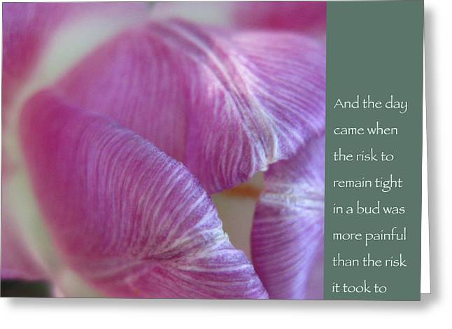 Empowerment Greeting Cards - Pink Tulip with Anais Nin Quote Greeting Card by Heidi Hermes