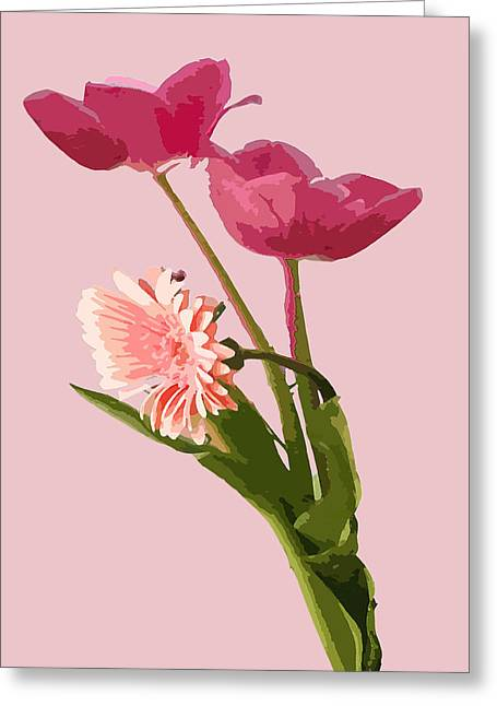 Pink Tulips Greeting Card by Karen Nicholson