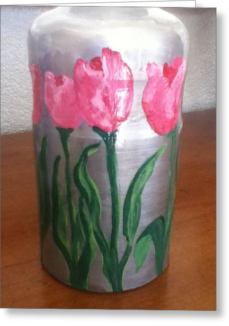 Miniature Glass Art Greeting Cards - Pink Tulips Miniature Vase Greeting Card by Berta Barocio-Sullivan