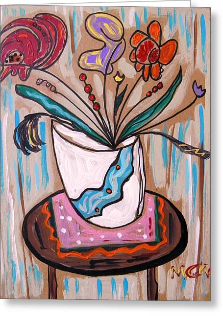 Unique View Drawings Greeting Cards - Pink Underneath Greeting Card by Mary Carol Williams