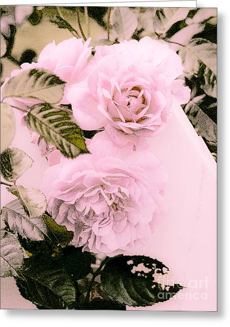Imperfect Greeting Cards - Pink Vintage Roses Greeting Card by Karen Lewis