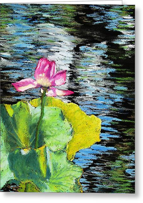 Print On Acrylic Pastels Greeting Cards - Pink Water Lily Greeting Card by Abbie Groves