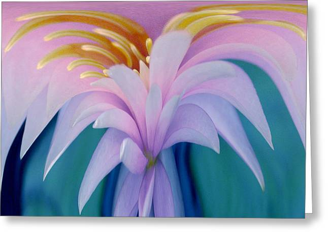 Digital Manipulation Greeting Cards - Pink Water Lily Greeting Card by Pat Exum