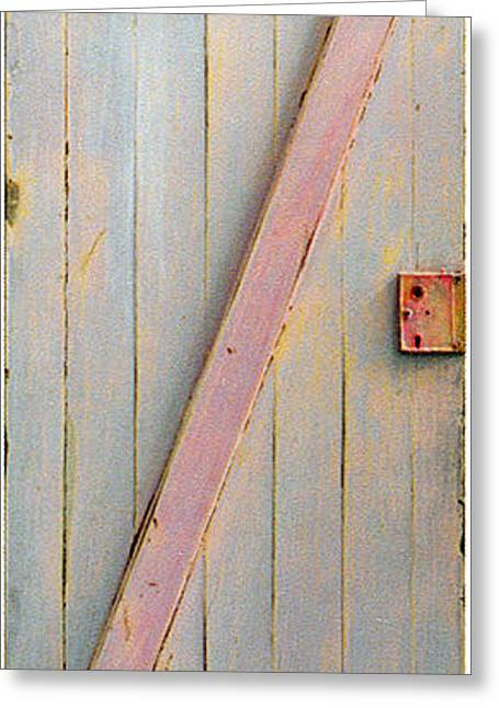 Stood Sculptures Greeting Cards - Pink Z Door Greeting Card by Asha Carolyn Young
