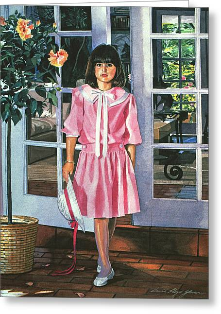 French Doors Greeting Cards - Pinkie Greeting Card by David Lloyd Glover