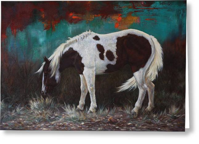 Contemporary Horse Greeting Cards - Pinto Greeting Card by Harvie Brown