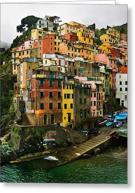Italian Riveria Greeting Cards - Pioggia-Riomaggiore Greeting Card by John Galbo