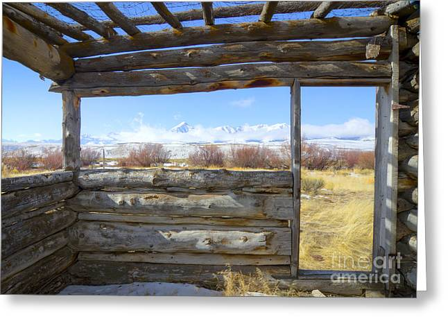 Cabin Window Greeting Cards - Pioneer Cabin Greeting Card by Idaho Scenic Images Linda Lantzy