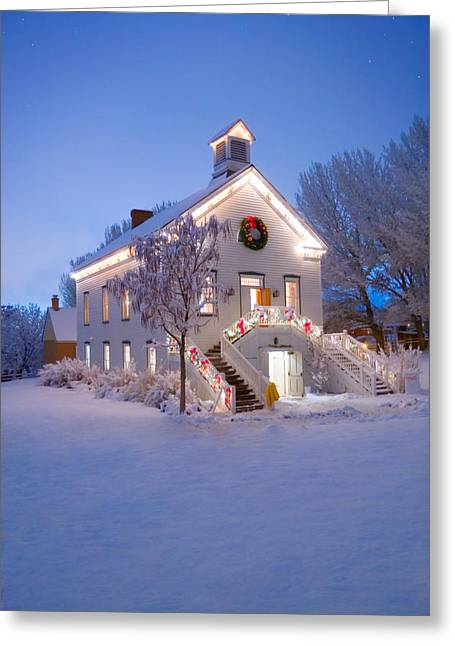 Snowy Night Greeting Cards - Pioneer Church at Christmas Time Greeting Card by Utah Images