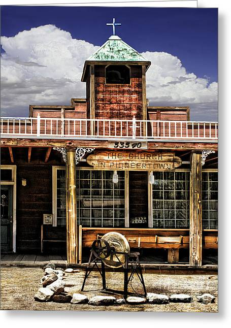 Old West Towns In California Greeting Cards - Pioneer Church Greeting Card by Danuta Bennett
