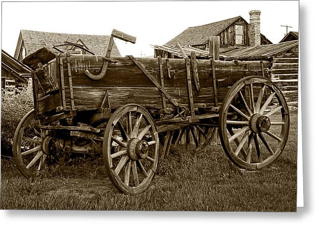 Conestoga Greeting Cards - Pioneer Freight Wagon - Nevada City Ghost Town Greeting Card by Daniel Hagerman