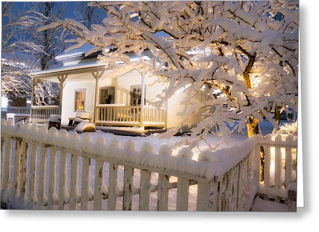 Snowy Night Greeting Cards - Pioneer Home at Christmas Time Greeting Card by Utah Images
