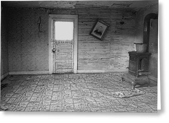 Linoleum Photographs Greeting Cards - Pioneer Home Interior - Nevada City Ghost Town Montana Greeting Card by Daniel Hagerman