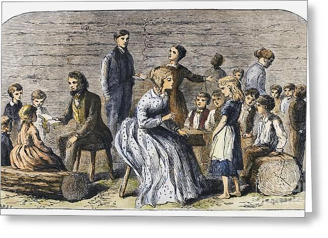One Room School Houses Greeting Cards - Pioneer Sunday School Greeting Card by Granger