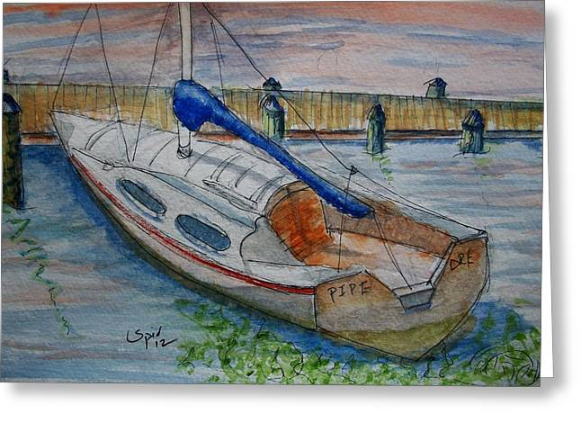 Docked Sailboat Mixed Media Greeting Cards - Pipe Dream Greeting Card by Spencer  Joyner