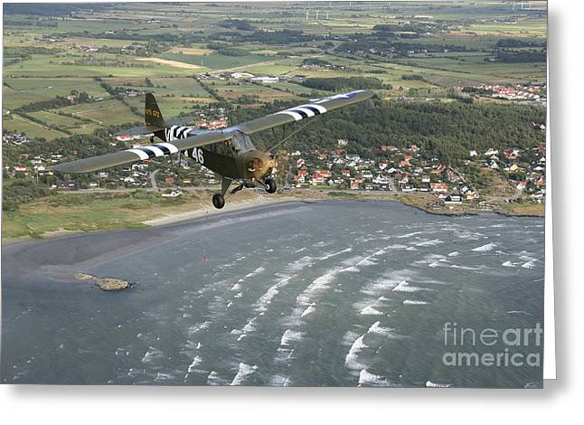 Piper Cub Greeting Cards - Piper L-4 Cub In Us Army D-day Colors Greeting Card by Daniel Karlsson