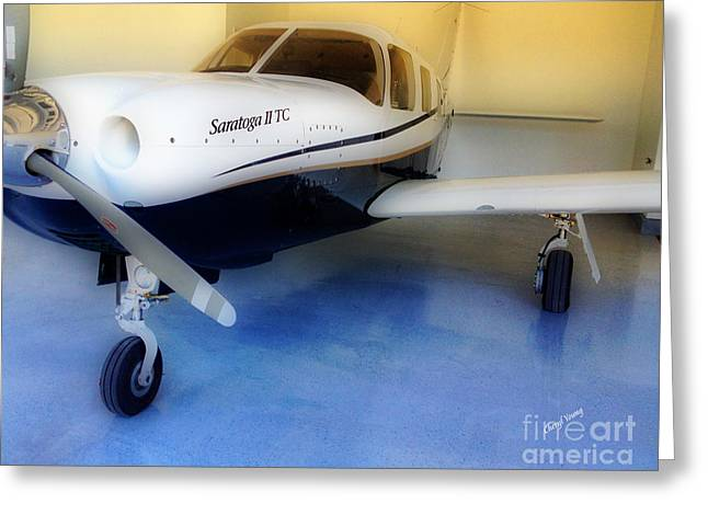 Single-engine Photographs Greeting Cards - Piper Saratoga Greeting Card by Cheryl Young