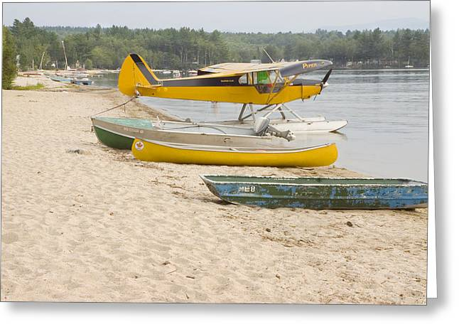 Sand Piper Greeting Cards - Piper Super Cub Floatplane Near Pond In Maine Canvas Poster Print Greeting Card by Keith Webber Jr