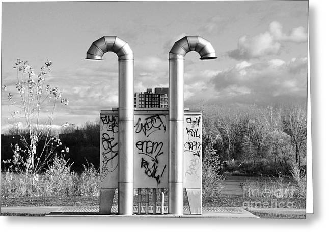 Montreal Urban Landscapes Greeting Cards - Pipes On the River Greeting Card by Reb Frost