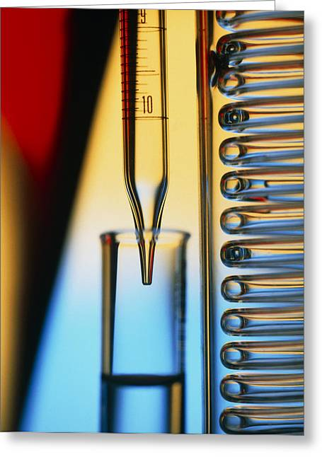 Condenser Greeting Cards - Pipette, Test Tube And Condenser Coil Greeting Card by Tek Image
