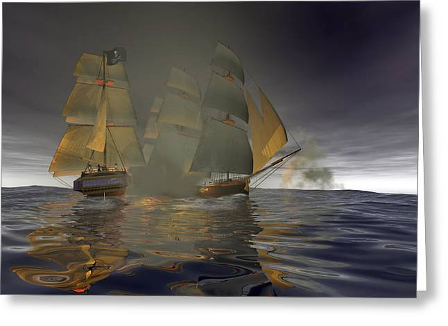 Pirate Ship Greeting Cards - Pirate Attack Greeting Card by Carol and Mike Werner