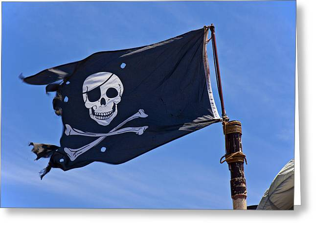 Pirates Greeting Cards - Pirate flag skull and cross bones Greeting Card by Garry Gay