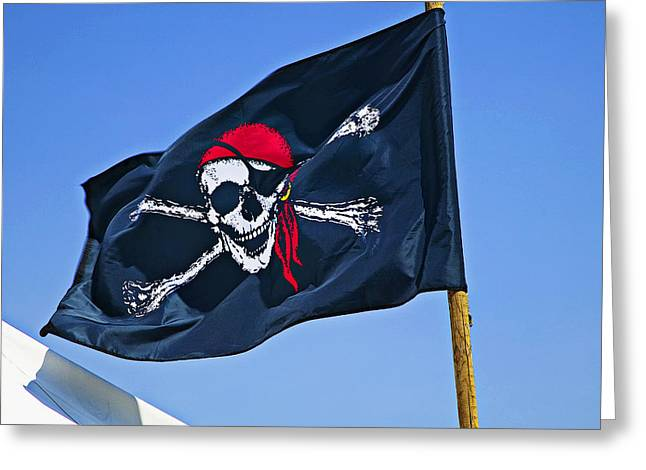 Cross Bones Greeting Cards - Pirate flag skull with red scarf Greeting Card by Garry Gay