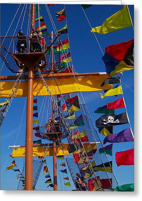 Recently Sold -  - Pirate Ships Greeting Cards - Pirate Flag Greeting Card by William  Carson Jr