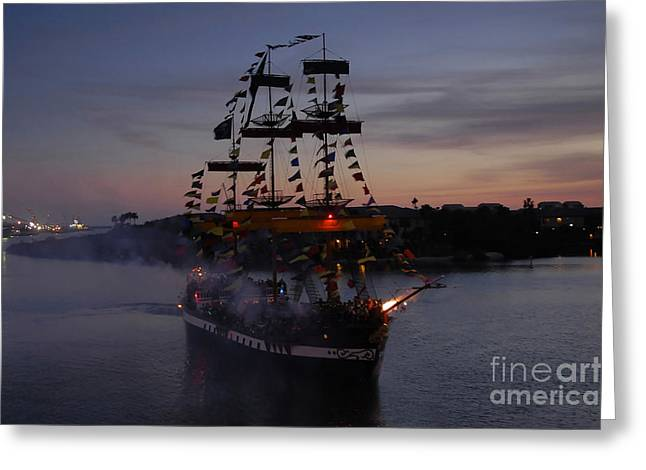 Pirate Ships Greeting Cards - Pirate Invasion Greeting Card by David Lee Thompson