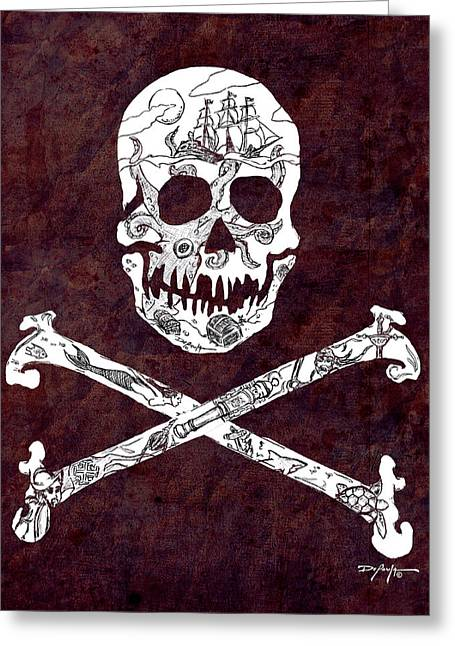 Tall Ships Mixed Media Greeting Cards - Pirate Mythology Greeting Card by William Depaula