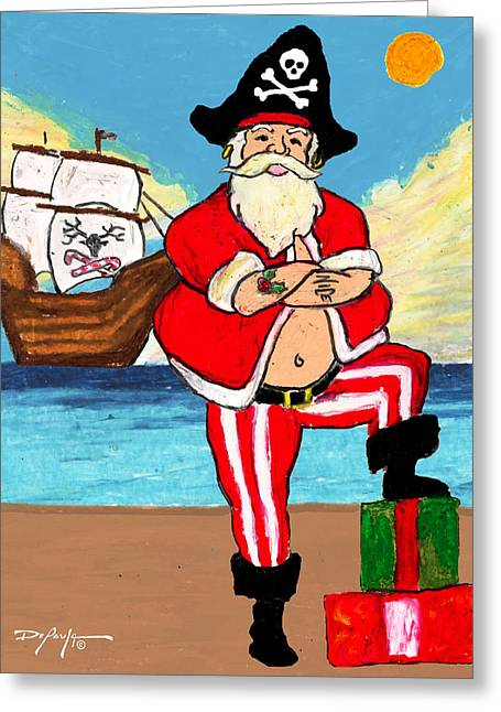 Pirate Santa Greeting Card by William Depaula