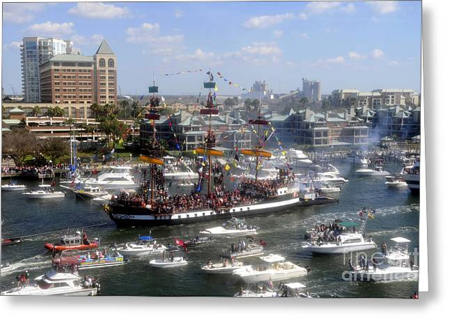 Pirate Ships Greeting Cards - Pirate ship and flotilla Greeting Card by David Lee Thompson