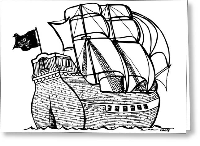 Pirate Ships Drawings Greeting Cards - Pirate Ship Greeting Card by Karl Addison