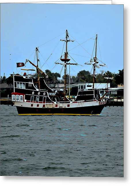 Buccaneer Greeting Cards - Pirate Ship of the Matanzas Greeting Card by DigiArt Diaries by Vicky B Fuller
