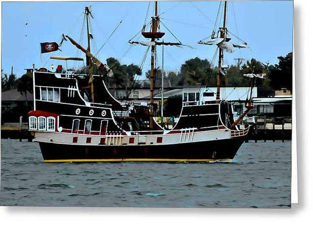 Pirate Ship of the Matanzas Greeting Card by DigiArt Diaries by Vicky B Fuller