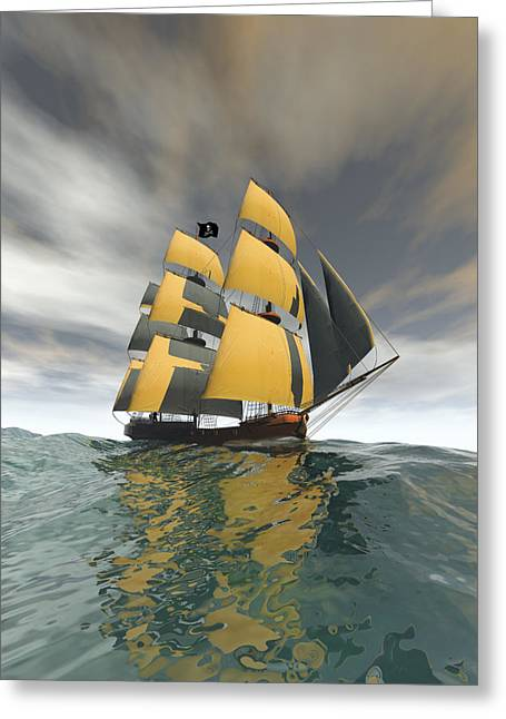 Pirate Ships Greeting Cards - Pirate Ship on the High Seas Greeting Card by Carol and Mike Werner