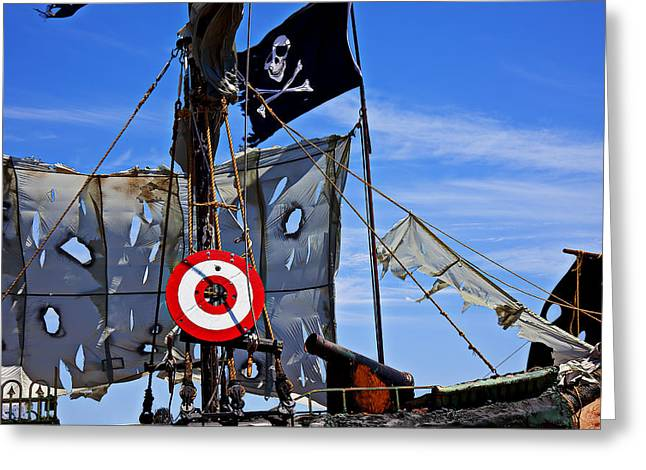 Tattered Greeting Cards - Pirate ship with target Greeting Card by Garry Gay