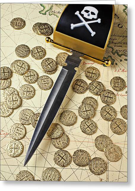 Treasures Greeting Cards - Pirate sword and gold coins on old map Greeting Card by Garry Gay