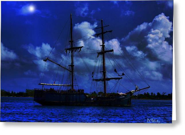 Pirate Ships Greeting Cards - Pirates Blue Sea Greeting Card by Patrick Witz