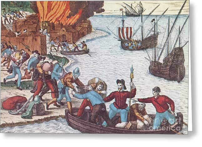 Pirates Burn Havana, 1555 Greeting Card by Photo Researchers