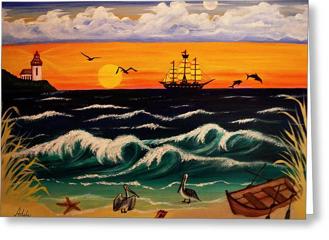 Pirate Ships Paintings Greeting Cards - Pirates Cove Greeting Card by Adele Moscaritolo