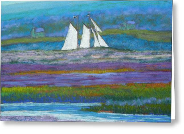 Schooner Pastels Greeting Cards - Pirates on the LaHave River Greeting Card by Rae  Smith PSC