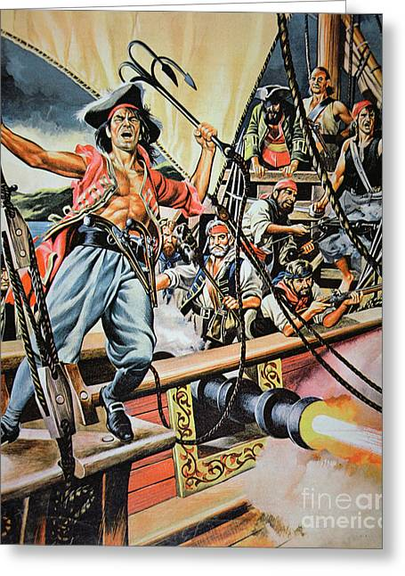Buccaneer Greeting Cards - Pirates preparing to board a Victim Vessel  Greeting Card by American School